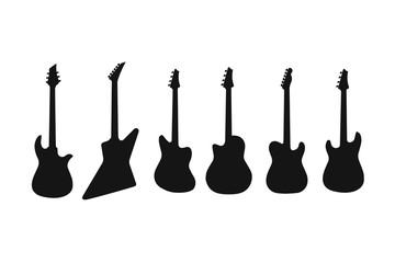 A set of silhouettes of various guitars. Bass , electric guitar , acoustic, electroacoustic