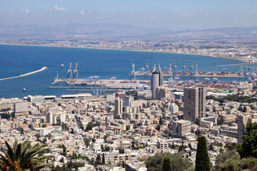 View from Mount Carmel to port and Haifa in Israel.