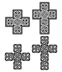 Celtic cross - set of traditional designs in black