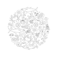 Elements of sea food in a circle shape.