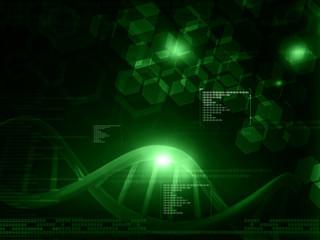 DNA molecules on green background.