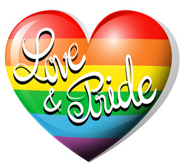 Love and pride on rainbow heart