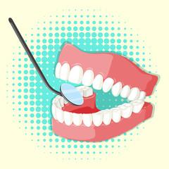 Teeth model and mirror