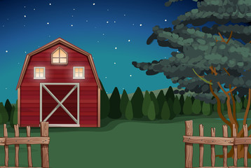 Farmhouse on the farm at nighttime