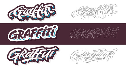 Graffiti lettering vector variants