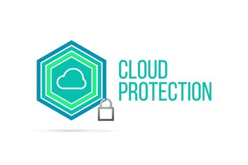 Cloud protection concept image with pentagon shield and lock illustration and icon inside