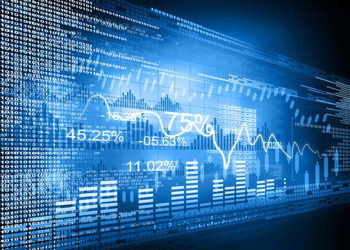 Stock market graphs, business chart .