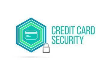 Credit card security concept image with pentagon shield and lock illustration and icon inside