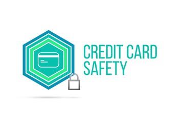 Credit card safety concept image with pentagon shield and lock illustration and icon inside