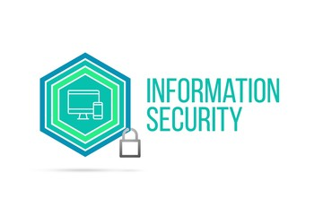 Information security concept image with pentagon shield and lock illustration and icon inside