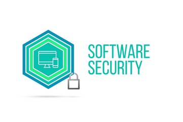 Software security concept image with pentagon shield seal and lock illustration and icon inside