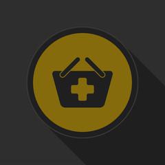 dark gray and yellow icon - shopping basket plus