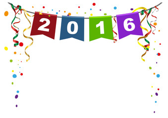 2016 new year. Flags Christmas garland and confetti