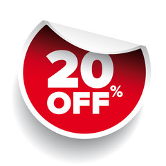 red vector 20% discount price sign