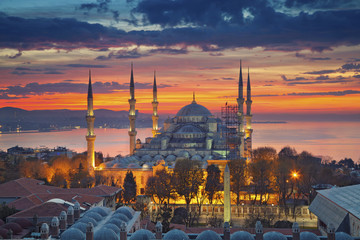 Istanbul. Image of the Blue Mosque in Istanbul, Turkey during dramatic sunrise.