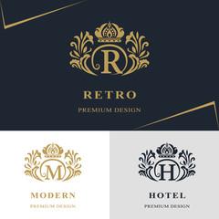 Monogram design elements, graceful template. Calligraphic elegant line art logo design. Letter emblem sign R, M, H for Royalty, business card, Boutique, Hotel, Heraldic, Jewelry. Vector illustration