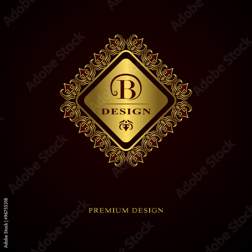 Calligraphic elegant line art logo design. Letter emblem sign B for Royalty, business card, Boutique, Hotel, Heraldic, Cafe, Jewelry. Vector illustration