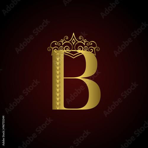 Gold emblem letter B with crown. Monogram design elements. Elegant ...