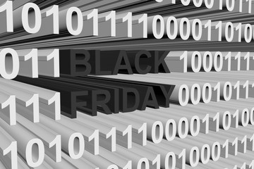 black Friday presented in the form of binary code