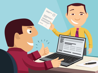 Loan application. Customer Care Center. Approval documents. Processing the application in the office. Funny experienced banker solves the problem. Simple flat design vector cartoon illustration.