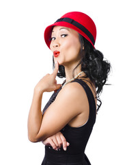 Summer beauty wearing red vintage hat