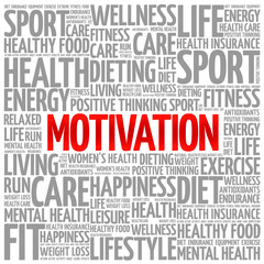 MOTIVATION word cloud background, health concept