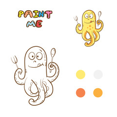 Coloring book with octopus. Vector image. Cartoon hungry octopus.