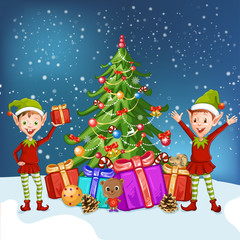 Illustration of the two elves near the Christmas tree