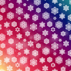 Winter seamless pattern with  hand drawn snowflakes on a bokeh rainbow background. Vector illustration.