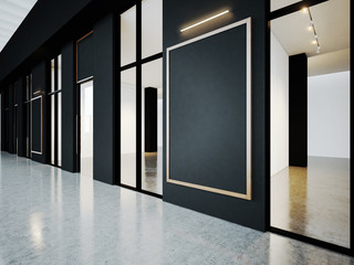 Black empty rooms in contemporary gallery with blank frames. 3d render
