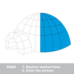 Igloo to be colored. Vector trace game.