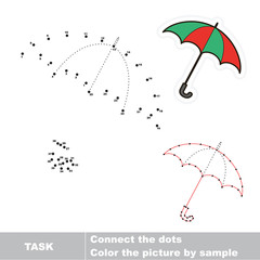 Umbrella to be traced. Vector numbers game.