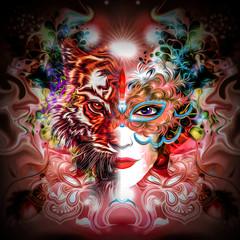 Абстрактный тигр и женское лицо в ярких цветах