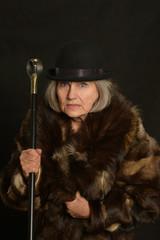 Mature woman in fur