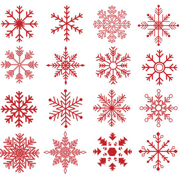 Red Snowflakes Silhouette Collections
