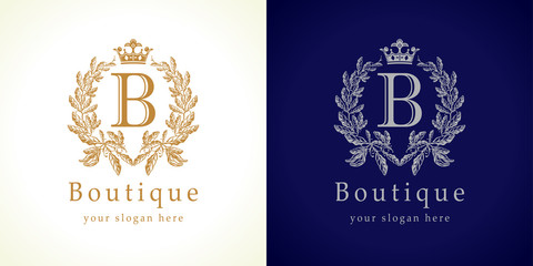 The boutique logo. The luxurious letter B icon in vintage style.