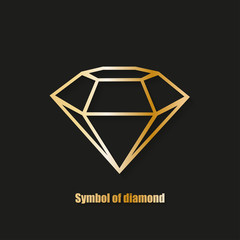 Diamond simbol logo with shadow black background