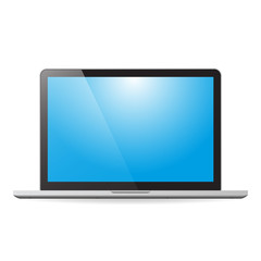 Laptop with blue screen and shadow on white background