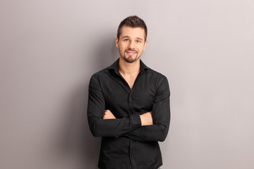 Handsome young man in a black shirt