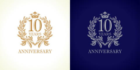 10 anniversary luxury logo. Template logo 10th royal anniversary with a frame in the form of laurel branches and the number 10
