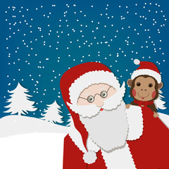 Greeting card, Happy New Year card with Santa Claus and monkey