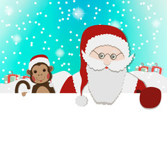 Santa Clause Christmas Monkey Cartoon Character