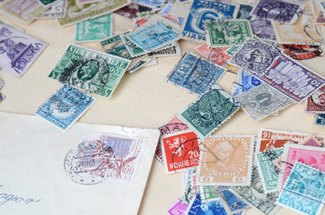 Collection of old postage stamps