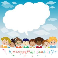 Bambini di Varie Etnie con Fumetto per Testo- Children say