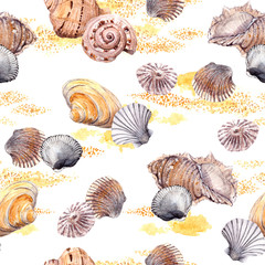 Seamless seashell and sand pattern on white background. Aquarelle
