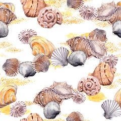 Seamless seashell and sand wallpaper on white background. Watercolor