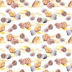 Seamless sea shell and sand pattern on white background. Watercolor