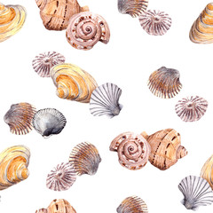 Seamless summer seashell template on white background. Watercolour