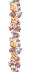 Seamless border stripe with seashells. Watercolour frame