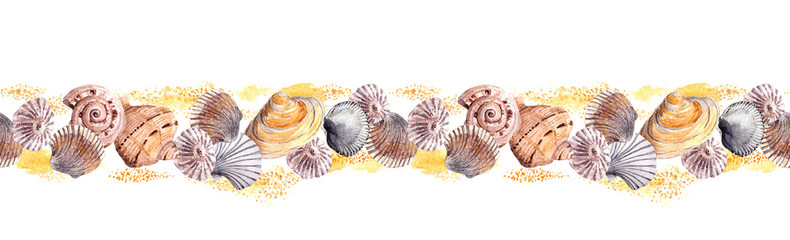 Seamless border ribbon with seashells in sand. Watercolor frame